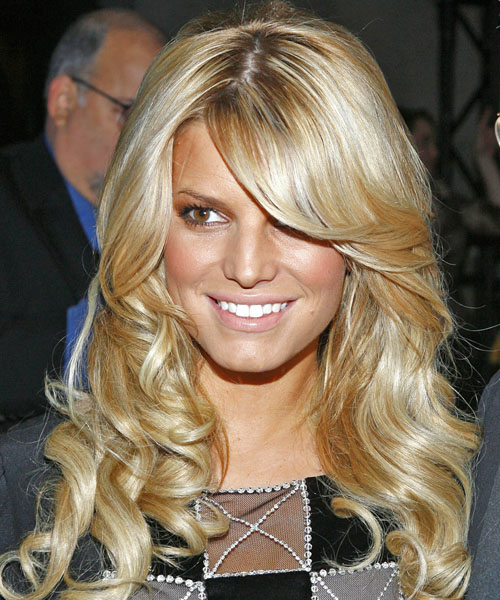Jessica Simpson Long Wavy Formal Hairstyle - Light Blonde (Golden) Hair Color