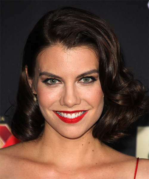Lauren Cohan Medium Wavy Formal Wedding - Dark Brunette