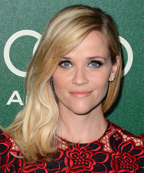 Reese Witherspoon Long Straight Casual Hairstyle - Medium Blonde Hair Color