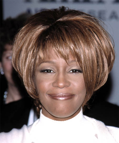 Whitney Houston Short Straight Hairstyle