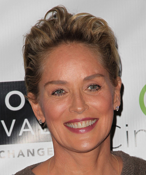 Sharon Stone Short Straight Hairstyle - Dark Blonde