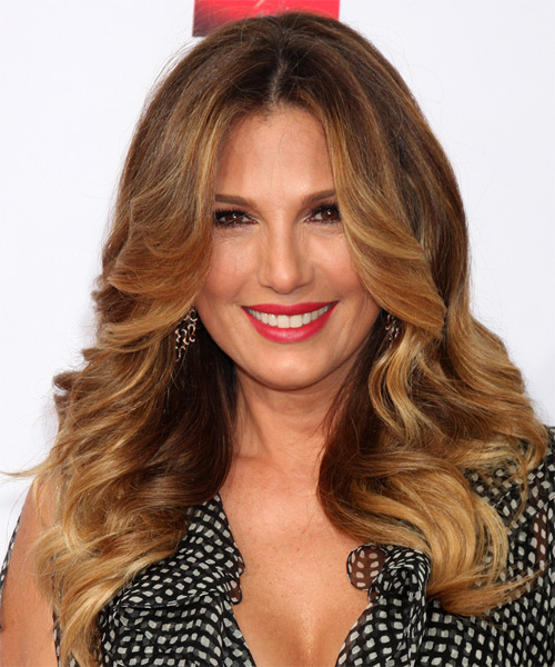 Daisy Fuentes Long Wavy Formal Hairstyle - Medium Brunette (Auburn) Hair Color