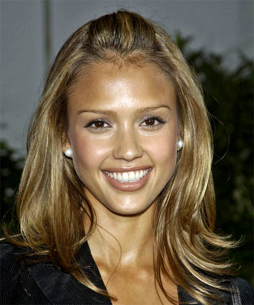 Jessica Alba Half Up Long Straight Hairstyle