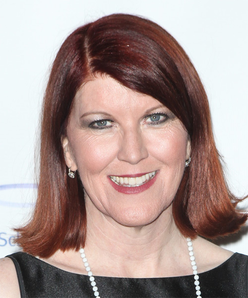 Kate Flannery Medium Straight Formal Hairstyle - Medium Red (Mahogany) Hair Color