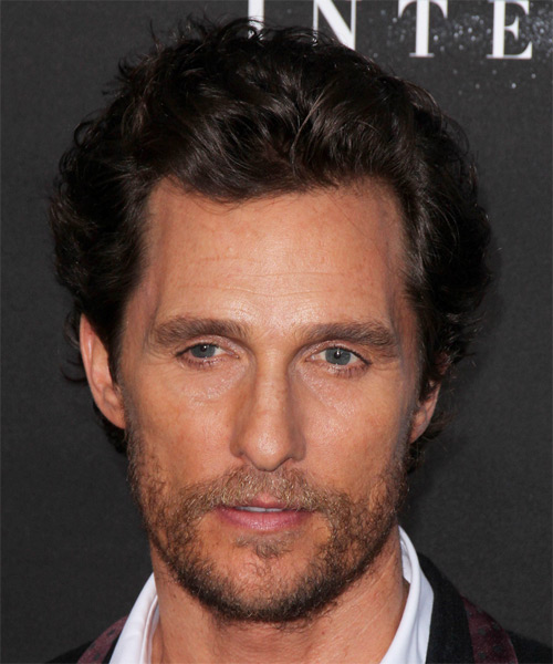 Matthew McConaughey Short Wavy Casual Hairstyle - Dark Brunette Hair Color