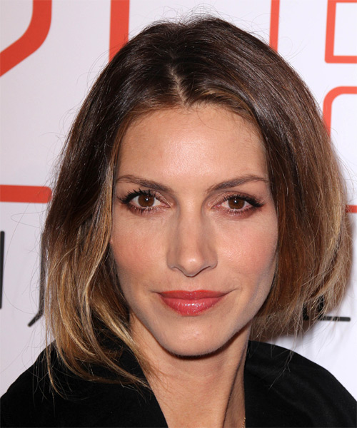 Dawn Olivieri Medium Straight Casual Hairstyle - Medium Brunette Hair Color