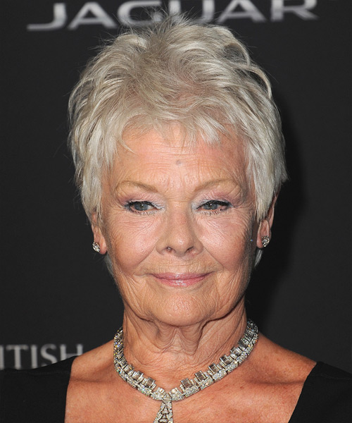 Judi Dench Short Straight Casual Hairstyle - Light Grey ...