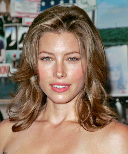 Jessica Biel Long Wavy Hairstyle - Light Brunette (Chestnut)