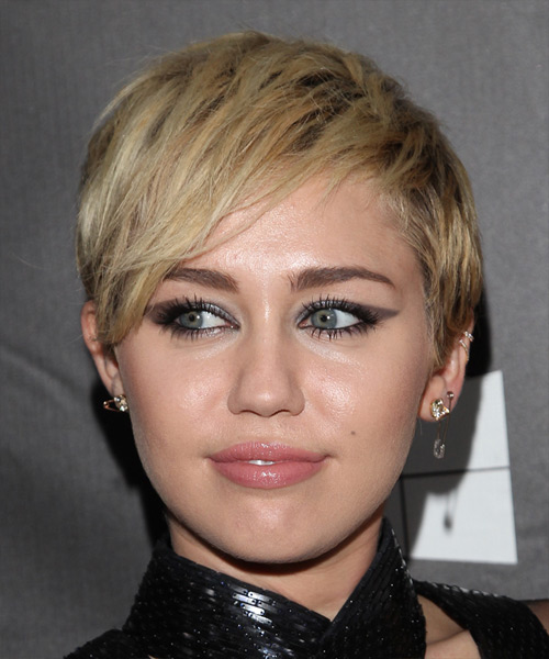 Miley Cyrus Short Straight Casual Hairstyle - Medium Blonde Hair Color