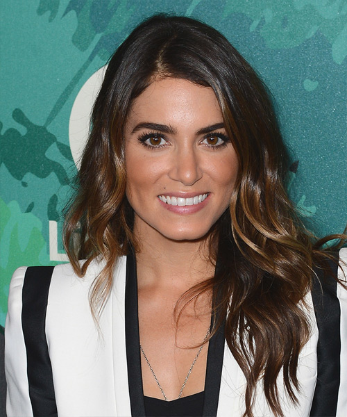 Nikki Reed Long Wavy Casual Hairstyle - Dark Brunette (Mocha) Hair Color
