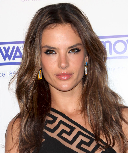 Alessandra Ambrosio Long Straight Casual Hairstyle - Medium Brunette (Chocolate) Hair Color