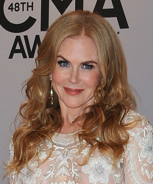 Nicole Kidman Long Wavy Formal Hairstyle - Light Red (Copper) Hair Color