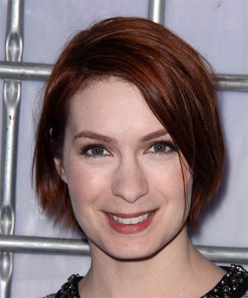 Felicia Day Medium Straight Casual  - Medium Red
