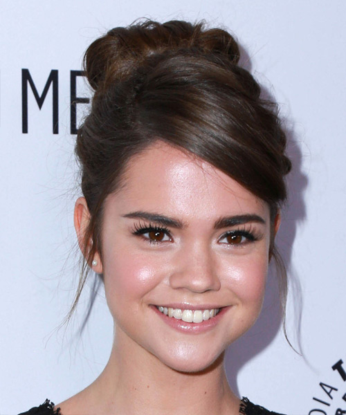 Maia Mitchell Long Wavy Formal Updo Hairstyle - Medium Brunette (Chocolate) Hair Color