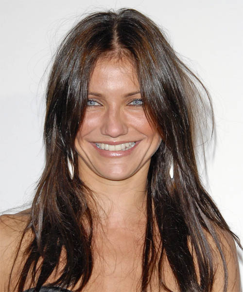 Cameron Diaz Long Straight Casual Hairstyle - Medium Brunette (Mocha) Hair Color
