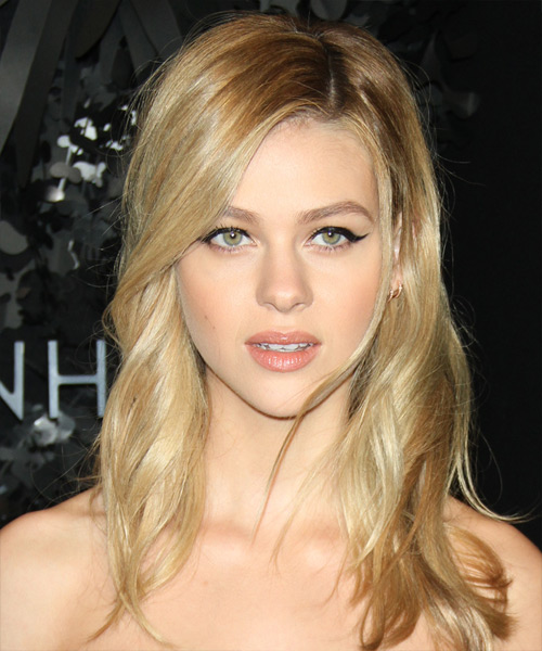 Nicola Peltz Long Wavy Casual Hairstyle - Medium Blonde Hair Color