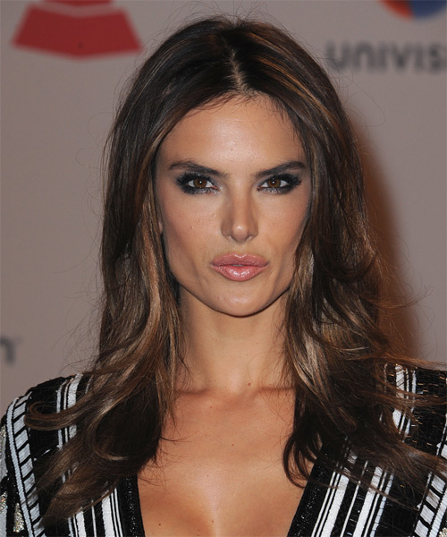 Alessandra Ambrosio Long Straight Casual Hairstyle - Dark Brunette Hair Color
