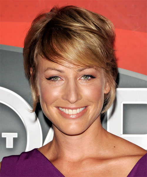 Christian-Cloud Short Straight Casual Hairstyle with Side Swept Bangs - Dark Blonde (Golden) Hair Color