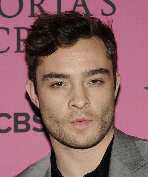 Ed Westwick Short Wavy Casual Hairstyle - Dark Brunette Hair Color