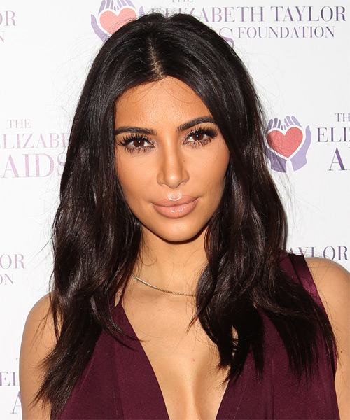 Kim Kardashian Long Straight Casual Hairstyle - Dark Brunette (Chocolate) Hair Color