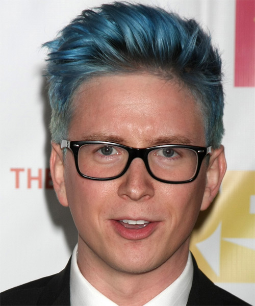 Tyler Oakley Short Straight Casual Hairstyle - Blue Hair Color