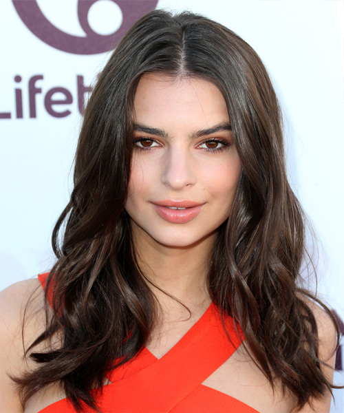 Emily Ratajkowski Long Wavy Casual Hairstyle - Dark Brunette Hair Color