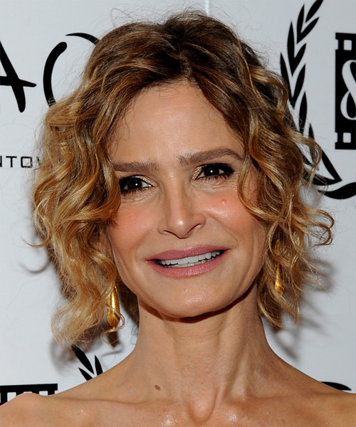 Kyra Sedgwick Short Curly Casual Hairstyle - Dark Blonde Hair Color