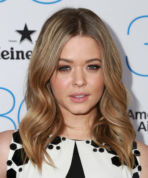 Sasha Pieterse Long Wavy Hairstyle - Light Brunette (Caramel)