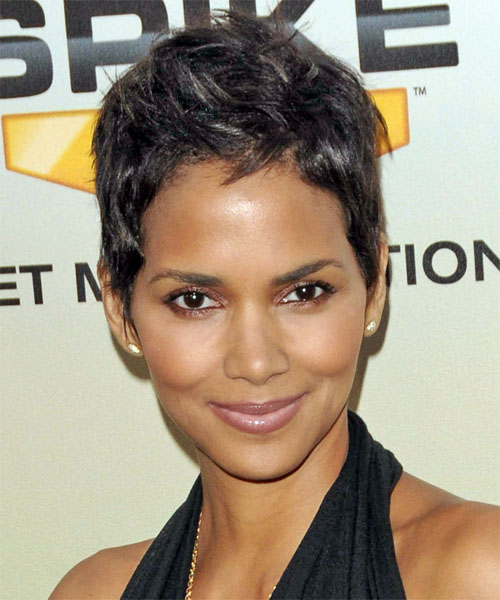 Halle Berry Short Straight Casual Hairstyle - Dark Brunette (Ash) Hair Color