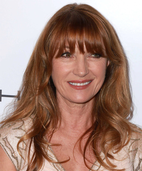 Jane Seymour Long Straight Casual Hairstyle with Blunt Cut Bangs - Medium Red Hair Color