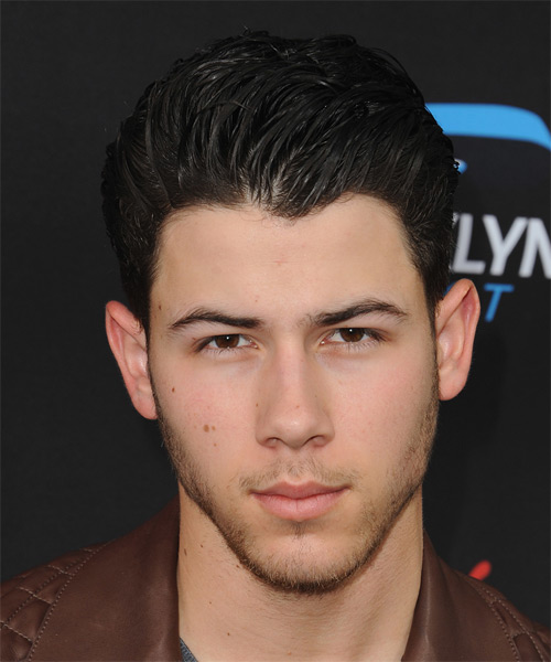 Nick Jonas Short Straight Formal Hairstyle - Dark Brunette (Mocha) Hair Color