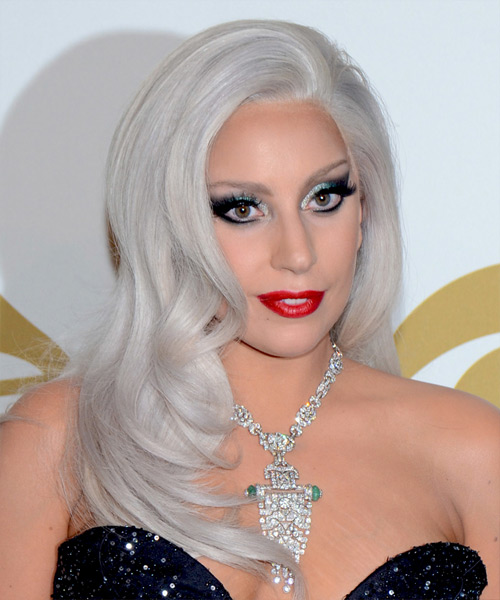 Lady GaGa Long Straight Formal  - Light Grey