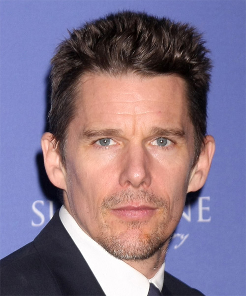 Ethan Hawke Short Straight Casual Hairstyle - Dark Brunette (Chocolate) Hair Color