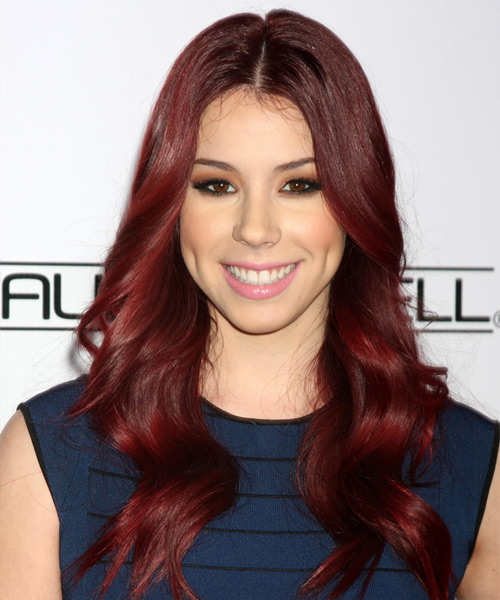 Jillian Rose Reed Long Wavy Casual Hairstyle - Medium Red (Burgundy) Hair Color