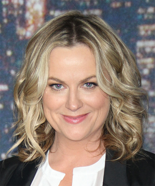 Amy Poehler Medium Wavy Casual Hairstyle - Medium Blonde (Champagne) Hair Color