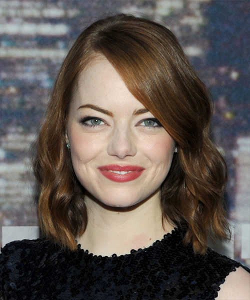Emma Stone Medium Wavy Casual Hairstyle - Medium Brunette Hair Color
