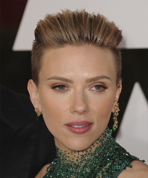 Scarlett Johansson Short Straight Formal Hairstyle - Light Brunette (Chestnut) Hair Color