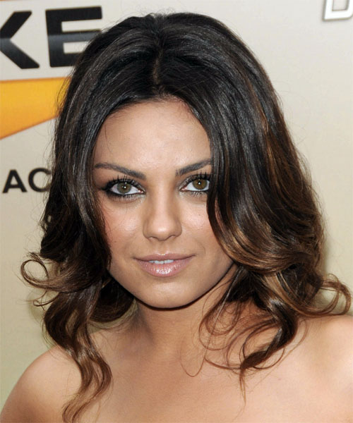 Mila Kunis Long Wavy Formal Hairstyle - Dark Brunette Hair Color