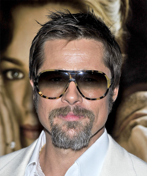 Brad Pitt Short Straight Hairstyle - Dark Brunette (Ash)