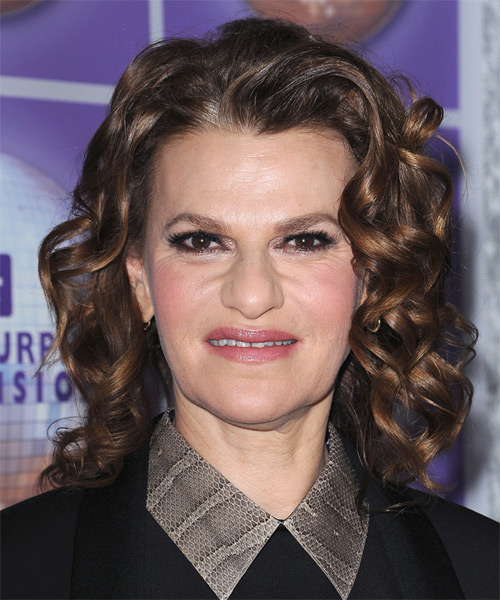 Sandra Bernhard Medium Curly Formal Hairstyle Dark Brunette