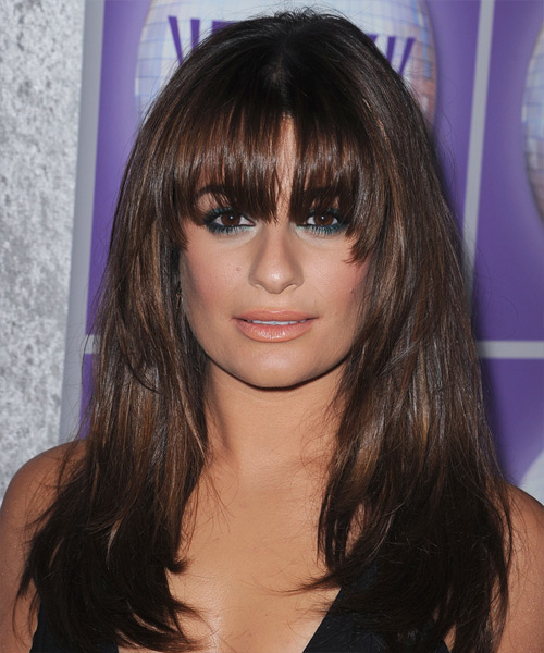 Lea Michele Long Straight Hairstyle with Blunt Cut Blended Arched Bangs