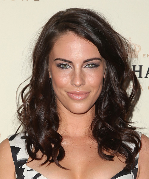 Jessica Lowndes Long Wavy Casual Hairstyle - Dark Brunette (Chocolate) Hair Color
