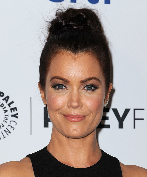 Bellamy Young Long Straight Formal Updo Hairstyle - Dark Brunette Hair Color