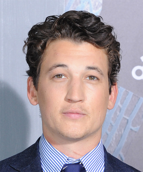 Miles Teller Short Wavy Formal Hairstyle - Dark Brunette Hair Color
