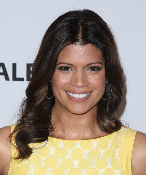 Andrea Navedo Long Wavy Formal Hairstyle - Dark Brunette Hair Color