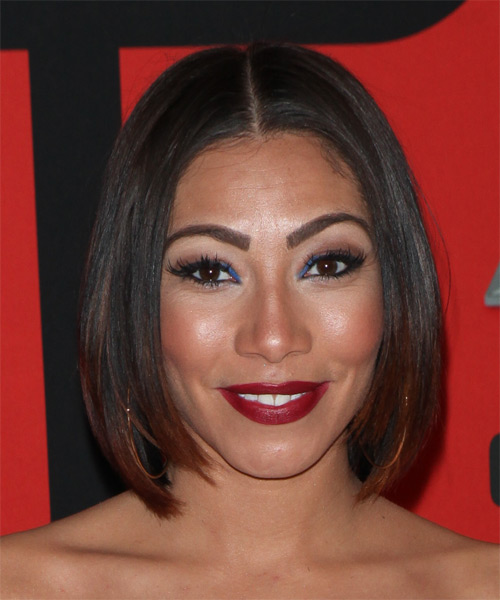 Bridget Kelly Medium Straight Casual Bob Hairstyle - Dark Brunette Hair Color