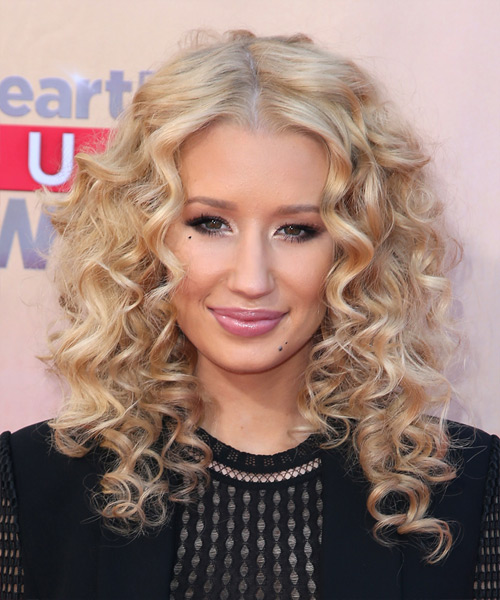 Iggy Azalea Long Curly Casual Hairstyle Light Blonde
