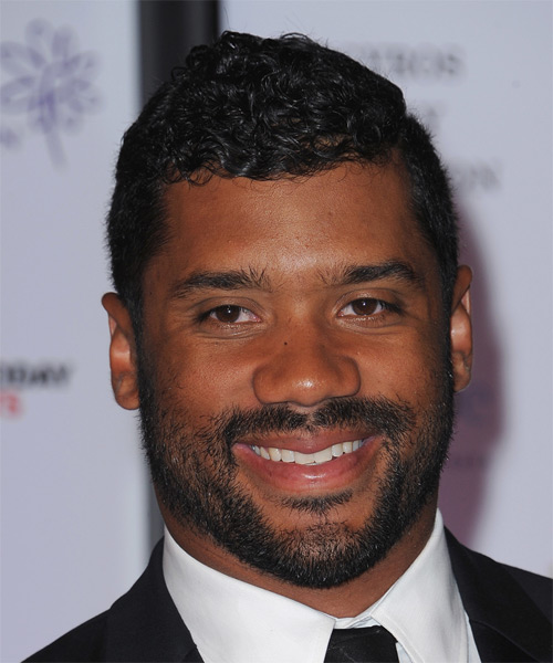 Russell Wilson Short Curly Casual Hairstyle - Black Hair Color