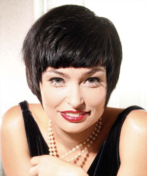 Short Straight Casual Hairstyle - Dark Brunette Hair Color