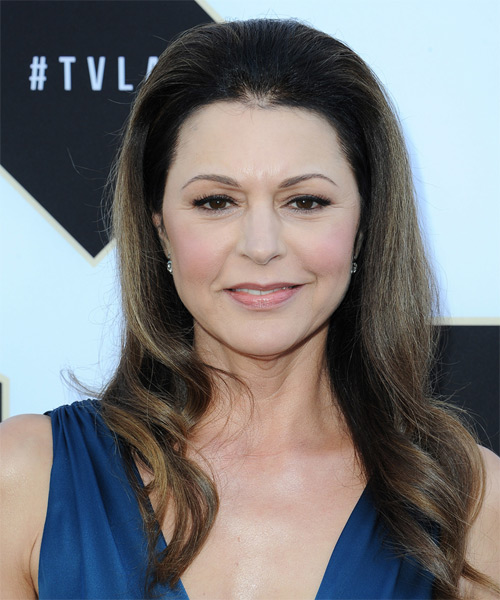 Jane Leeves Long Wavy Formal Hairstyle - Dark Brunette Hair Color